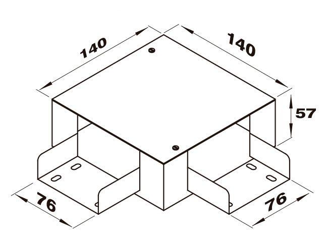 """Caixa de derivação """"L"""" para perfilado duplo"""