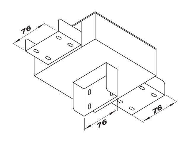 """Caixa de derivação """"C"""" para perfilado duplo com 1 saída inferior"""