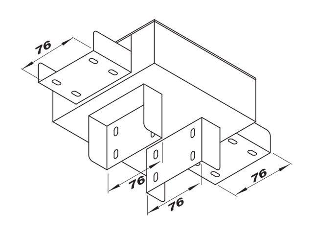 """Caixa de derivação """"C"""" para perfilado duplo com 2 saídas inferiores"""