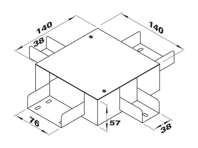 """Caixa de derivação """"X"""" para 2 perfilados de 38 e 2 de 76"""